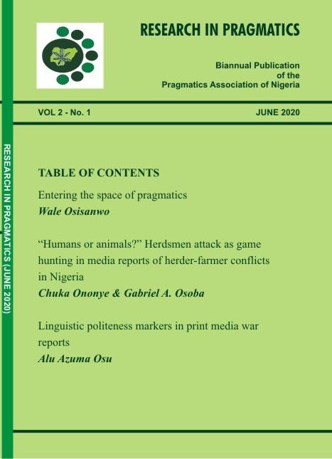View Vol. 2 No. 1 (2020): Research in Pragmatics